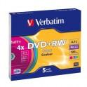 Носители информации Verbatim DVD+RW 4,7GB 4х SLIM/5 43297 Color