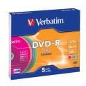 Носители информации Verbatim DVD-R 4,7Gb 16х Slim/5 43557 Color