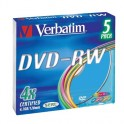 Носители информации Verbatim DVD-RW 4,7Gb 4х Slim/5 43563 Color