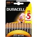 Батарея DURACELL ААA/LR03-20BL BASIC 15шт+5 бесплатно бл/20
