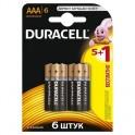 Батарея DURACELL ААA/LR03-6BL BASIC 5шт+1 бесплатно бл/6