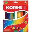 Карандаши цветные 24цв 3-гран,точилка Kores 93324.01