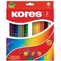 Карандаши цветные 24цв 6-гран,точилка Kores 96324.01