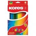 Карандаши цветные 36цв 6-гран,точилка Kores 96336.01