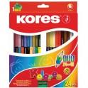 Карандаши цветные 48цв 24шт 3-гран,двустор с точилкой Kores 93224.