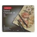 Набор карандашей угольных Derwent Charcoal Tinted 24шт мет упак 2301691