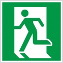 Знак безопасности E01-01 Выход здесь (левостор) (плёнка,ф/л,200х200)