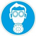 Знак безопасности M04 Работать в СИЗ органов дыхания (плёнка,200х200)