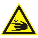 Знак безопасности W27 Осторожно! Возможно травмир-е рук(плёнка,200х200)