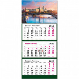 Календарь 3-блочный 2020Москва 305*675, 80г/м2