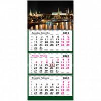 Календарь 3-блочный 2020 Ночная Москва 305*675, 80г/м2
