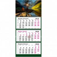 Календарь 3-блочный 2020 Рассвет на озере 305*675, 80г/м2