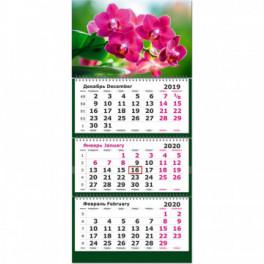 Календарь 3-блочный 2020 Орхидеи 305*675, 80г/м2