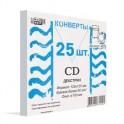Конверт Белый CD декстрин 125х125 окно d100мм 25шт/уп/4573