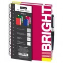 Бизнес-тетрадь Bright,А5,120л,148х205,резинка под ручку, кл,бордо,0014